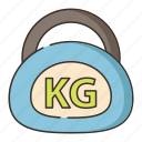 dumbbell, weight, heavy package, kg icon