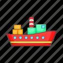 cartoon, container, export, ocean, sea, shipping, transport