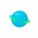 arrow, cartoon, delivery, earth, globe, planet, world icon