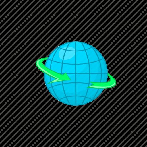 arrow, cartoon, delivery, earth, globe, planet, world icon