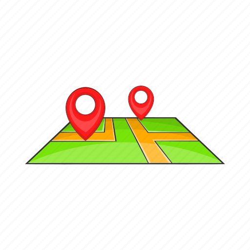 cartoon, destination, direction, location, map, pin, travel icon