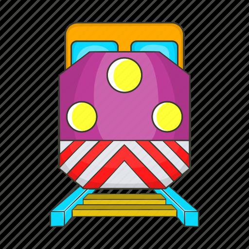 cartoon, locomotive, rail, track, train, transport, transportation icon