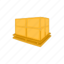 cardboard, cartoon, delivery, package, pallet, transportation icon