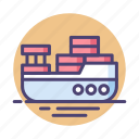 barge, cargo, cargo ship, ship icon
