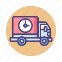 delivery, logistics, lorry, pending, shipping, truck icon