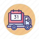 delivery, logistic, lorry, scheduled, shipping, truck icon