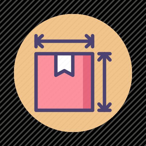 item size, length, measurement, packaging, parcel, size, width icon