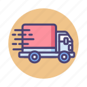 fast shipping, logistics, lorry, truck icon