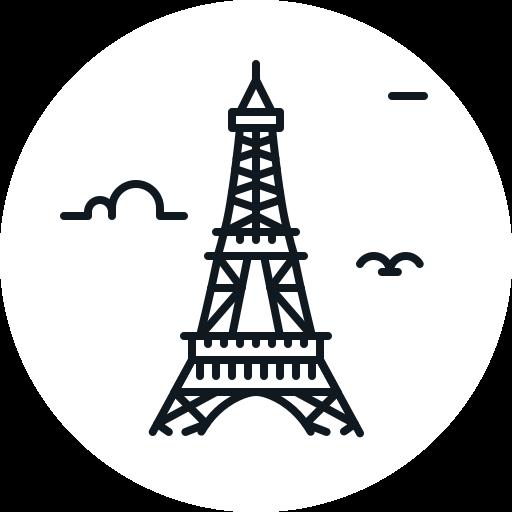building, eiffel, landmark, paris, tower icon
