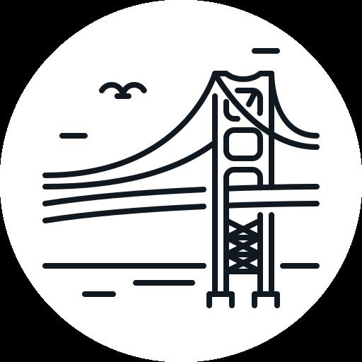 bridge, building, gate, golden, landmark icon