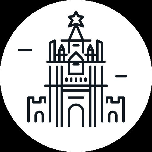 building, kremlin, landmark, russia icon