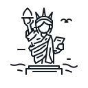 landmark, liberty, statue, usa icon