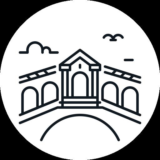 bridge, landmark, rialto, venice icon