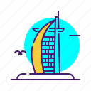 al, arab, burj, landmark, monument icon