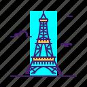 eiffel, landmark, paris, tower icon
