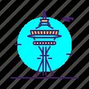 landmark, needle, science, space, usa icon
