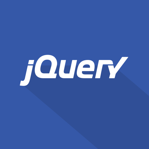 blue, front-end, javascript, jquery, js, library, long shadow, web, web technology icon