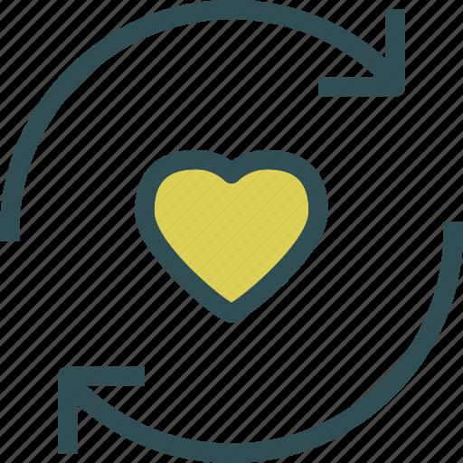 cycle, heart, love, romance icon