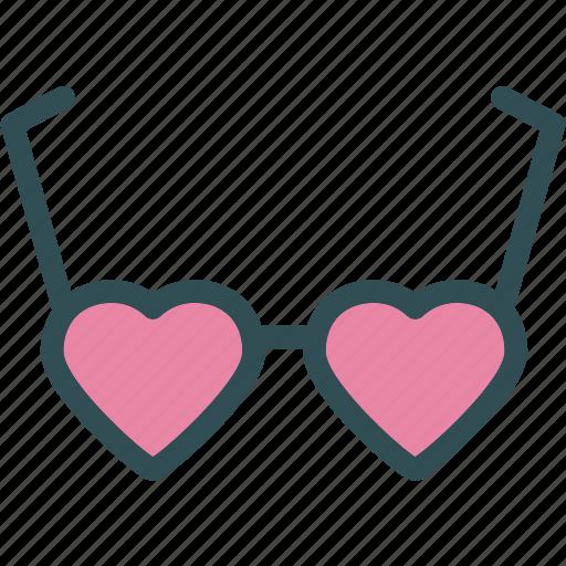 glasses, heart, love, romance icon
