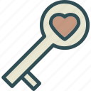 heart, key, love, romance icon