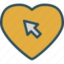 cursor, heart, love, romance icon