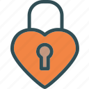 heart, lock, love, romance icon