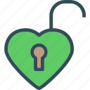 heart, love, romance, unlock icon