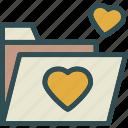folder, heart, love, romance icon