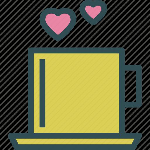 heart, love, romance, teacup icon