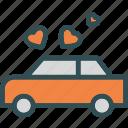 car, heart, love, romance icon