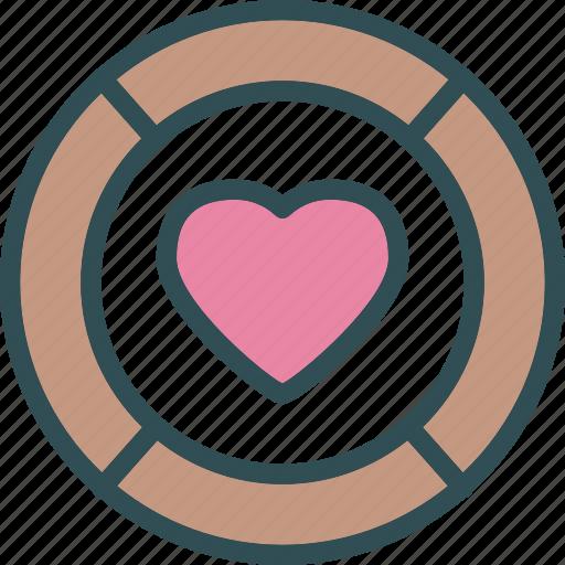 coin, heart, love, romance icon