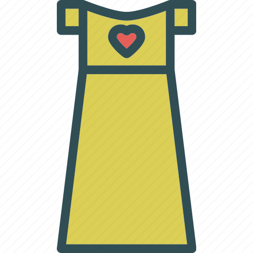 dress, heart, love, romance icon