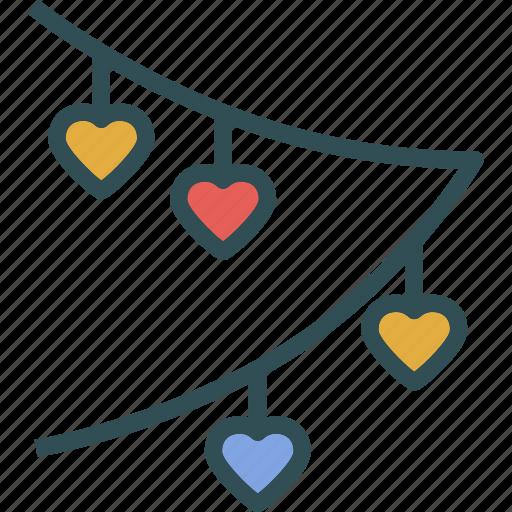 banner, heart, love, romance icon