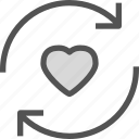 cycle, heart, love, romance icon