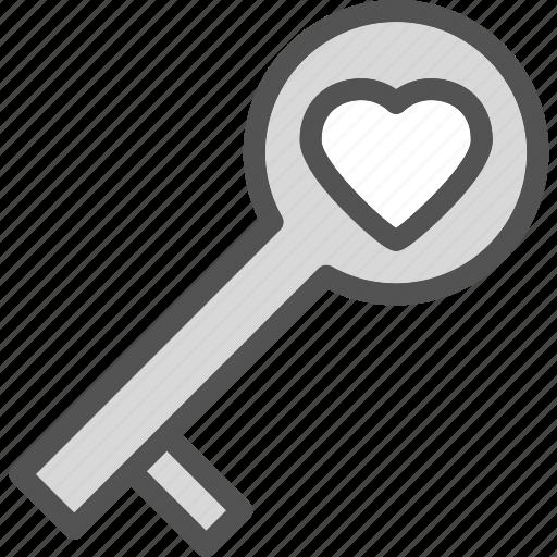 heart, key, love, romance icon