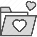 folder, heart, love, romance icon