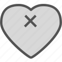 cancel, heart, love, romance icon