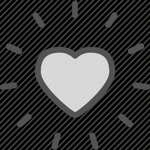 heart, love, romance, shine icon