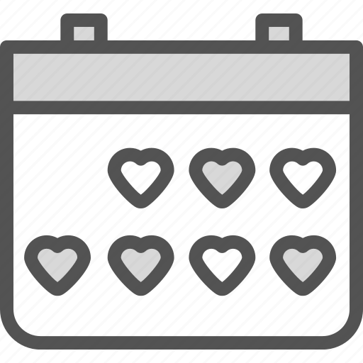 calendar, heart, love, romance icon