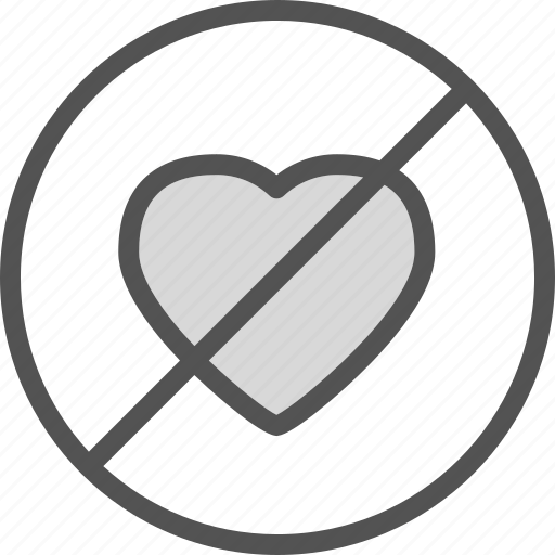 denied, heart, love, romance icon