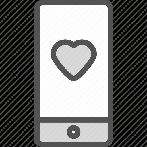 heart, love, phone, romance icon