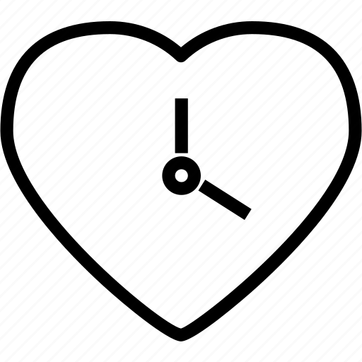 clock, heart, love, romance icon