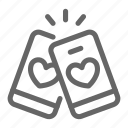 heart, love, mobile, phone, romance, share, smartphone icon