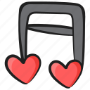 eighth note, melody, music, music note, quaver, romantic music icon