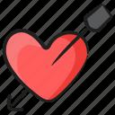 breakup, broken heart, cupid, heart with arrow, injured heart