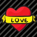 decorative heart, heart banner, heart design, heart gift, heart ribbon