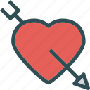 arrow, bow, heart, love, romance, shot icon