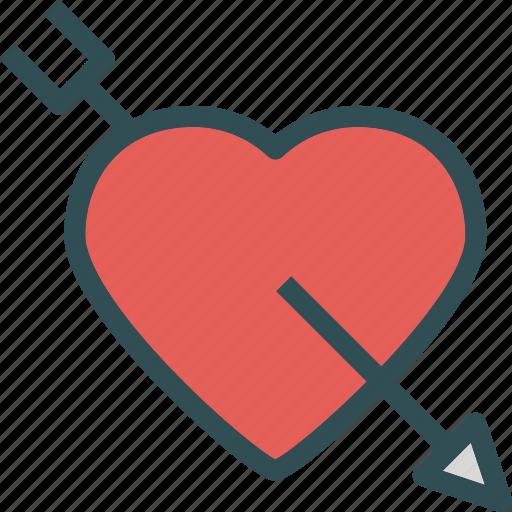arrow, bow, heart, love, romance, shot icon
