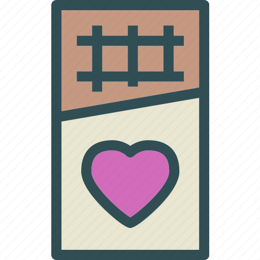 chocolatebar, heart, love, romance icon