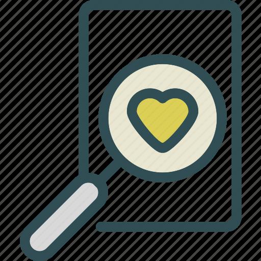 heart, love, romance, search icon
